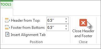 Image of Close Header and Footer button under Header & Footer Design tools