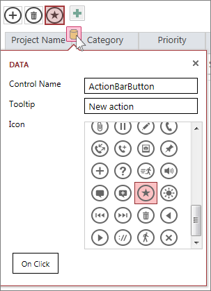 The Data dialog of a custom action on a web datasheet