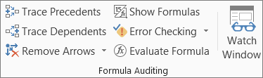 Formula Auditing group on the Formula tab
