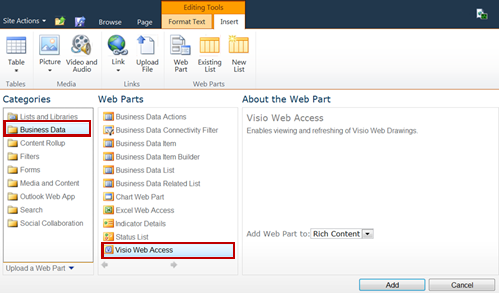 Adding a Visio Web Access Web Part to a SharePoint site