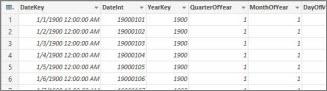 DateStream Calendar table in Power Query Editor