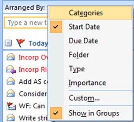 Categories menu in Outlook 2007
