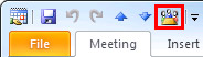 Meeting window Quick Access Toolbar with Meeting Workspace command added