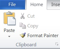 Clipboard group on the Home tab in Word