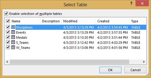 Select table window