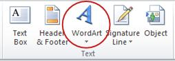 WordArt button in Text group