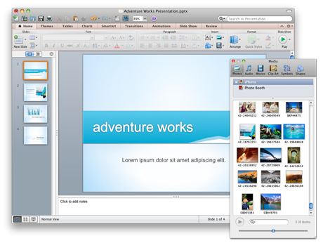 PowerPoint presentation and the Media Browser