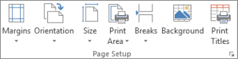 Page Setup group on the Page Layout tab