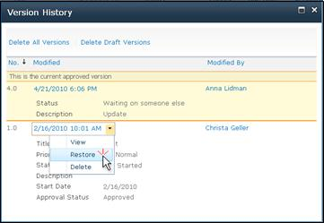 Version History drop-down with Restore selected