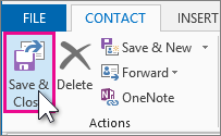 Save and Close button for a contact