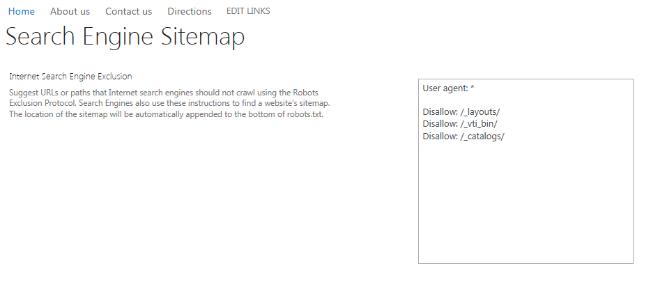 Search Engine Sitemap screen