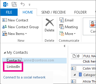 LinkedIn contacts are added to a new folder called LinkedIn.