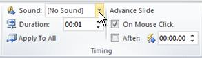 Add sounds to your transition from choosing  selecting a Sound in the Timing group.