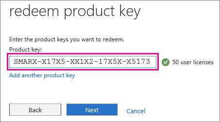 Enter your product key, a unique, 25-character alphanumeric code.