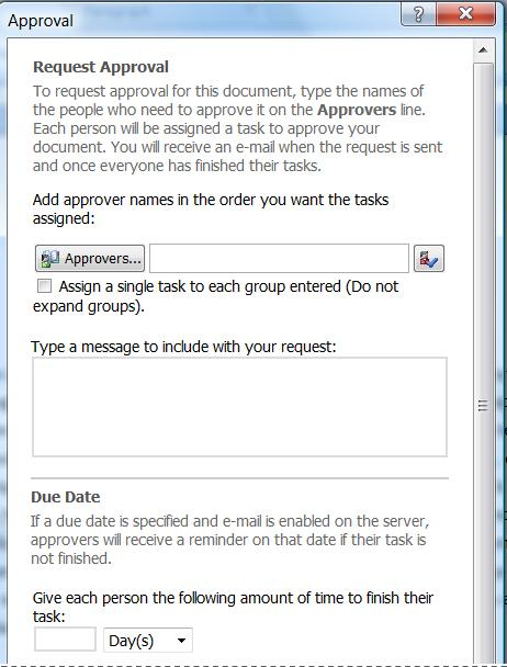 Workflow initiation form for the Approval workflow
