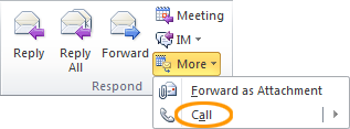 Respond with a Lync 2010 call in Outlook 2010