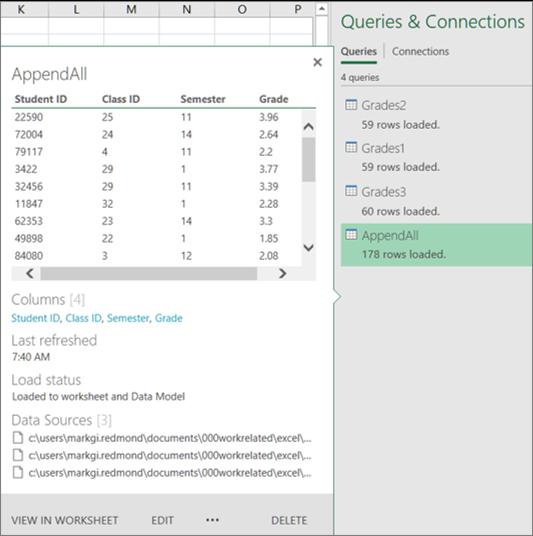Manage workbook queries