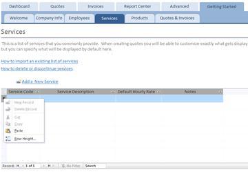Shortcut menu on the Services datasheet
