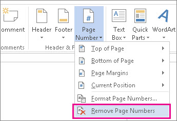 Remove page numbers in Word 2013