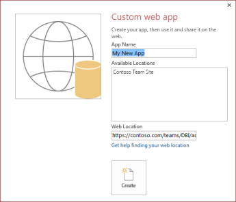 The new custom web app dialog box, showing the Contoso Team Site in the Available Locations box.
