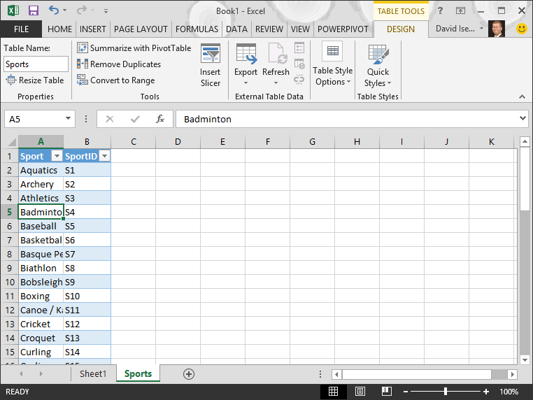 Name a table in Excel