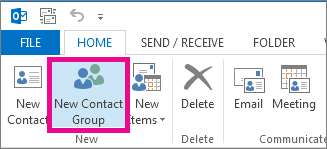 Click New Contact Group on the Home tab