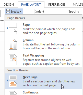 Next Page section break