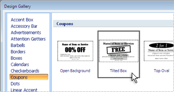 Selecting a coupon in the Design Gallery