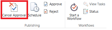 Ribbon showing cancel approval button