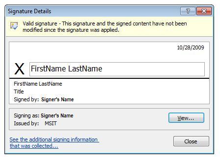 Signature Details dialog