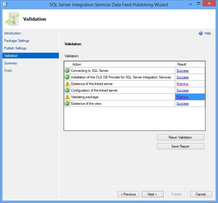 SSIS Package Publish Wizard - Validation Page
