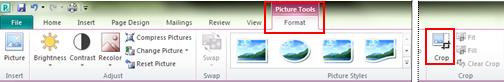 Ribbon Picture Tools Format Tab crop command in Publisher