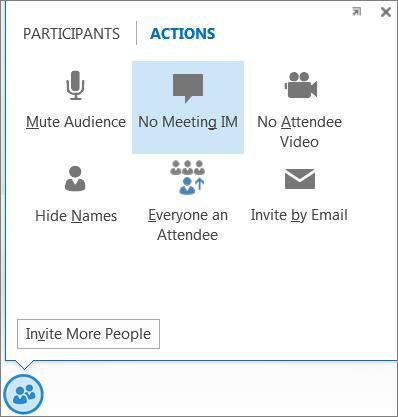 Screen shot of No Meeting IM option