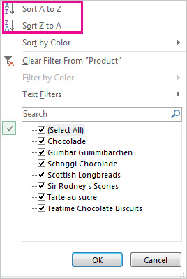 Sorting commands in the Sort and Filter gallery