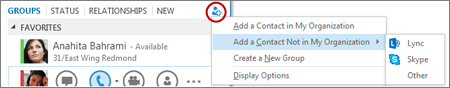 Add an external contact in Lync