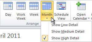 Change month calendar view detail options