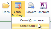 Cancel Series command on the ribbon