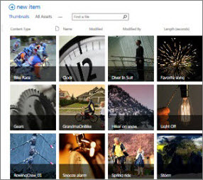 Screenshot of an Asset Library in SharePoint. It shows thumbnail pictures of several videos and images that the library contains. It also shows the standard metadata columns for media assets.