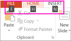 Ribbon tab Key Tips