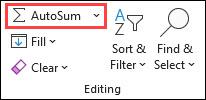AutoSum on the Home tab