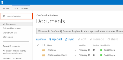 The Query Box in OneDrive