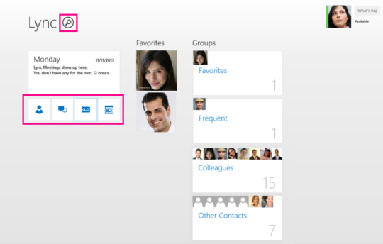 Screen shot of Lync home page
