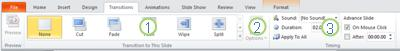 The Transitions tab in the PowerPoint 2010 ribbon.
