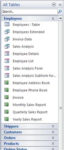 Navigation Pane displaying the All Tables group of the Tables and related views category in Northwind sample database