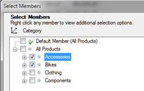 Select Members dialog box with Accessories and Bikes selected