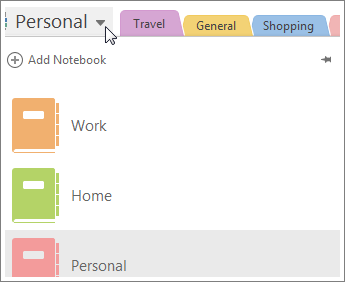 Switch notebooks using the menu on the left.