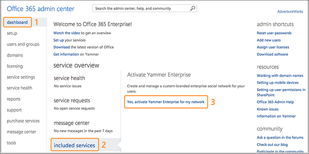 Screenshot showing where to active Yammer Enterprise