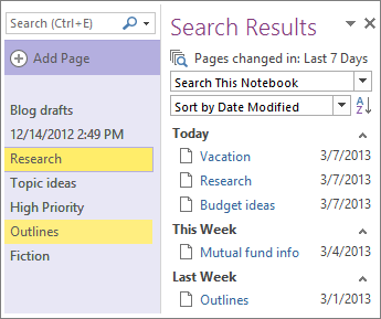 The search results list the recent changes to a notebook