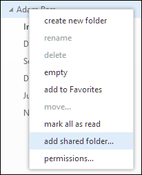 Outlook Web App Add shared folder right-click menu option