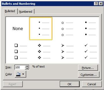 bullets and numbering dialog box
